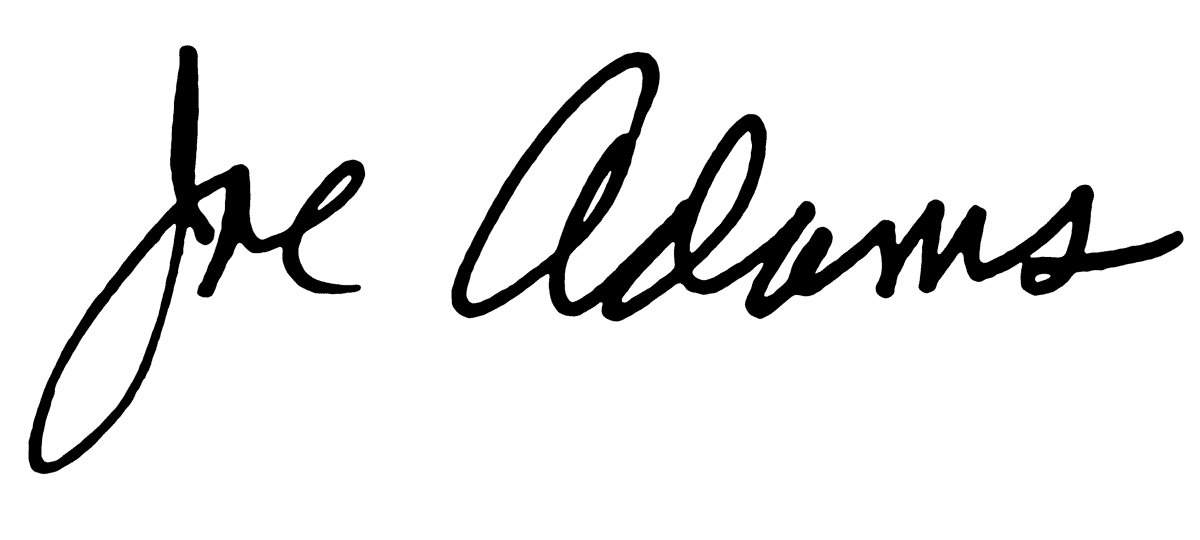 Joe Adams signature.